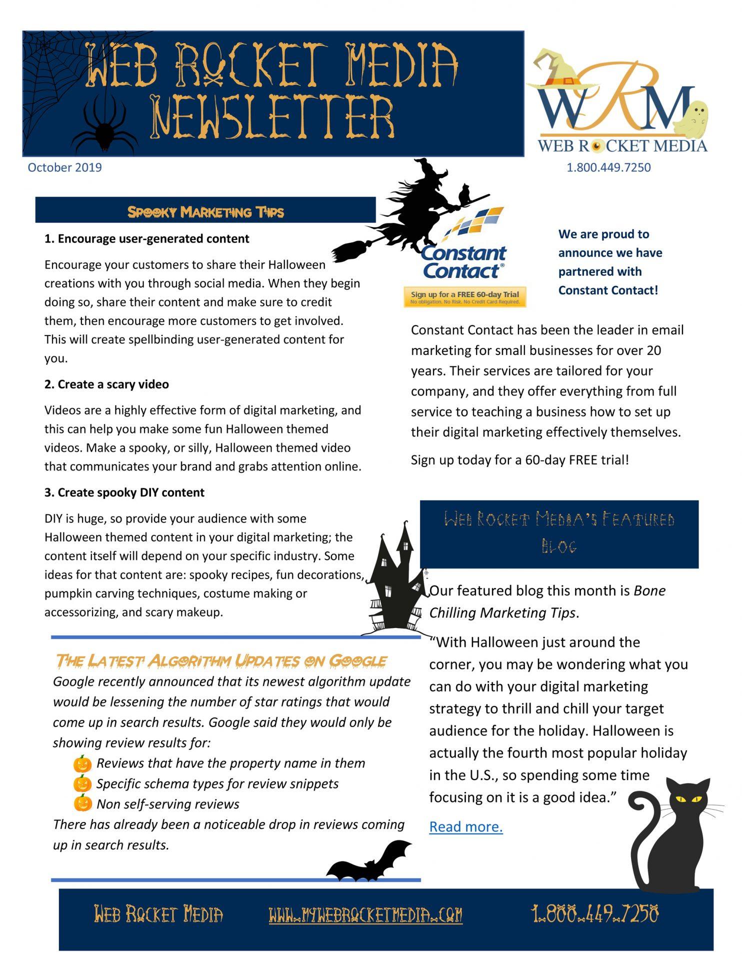 , Newsletter October 2019 | Web Rocket Media | Long Island, NY SEO