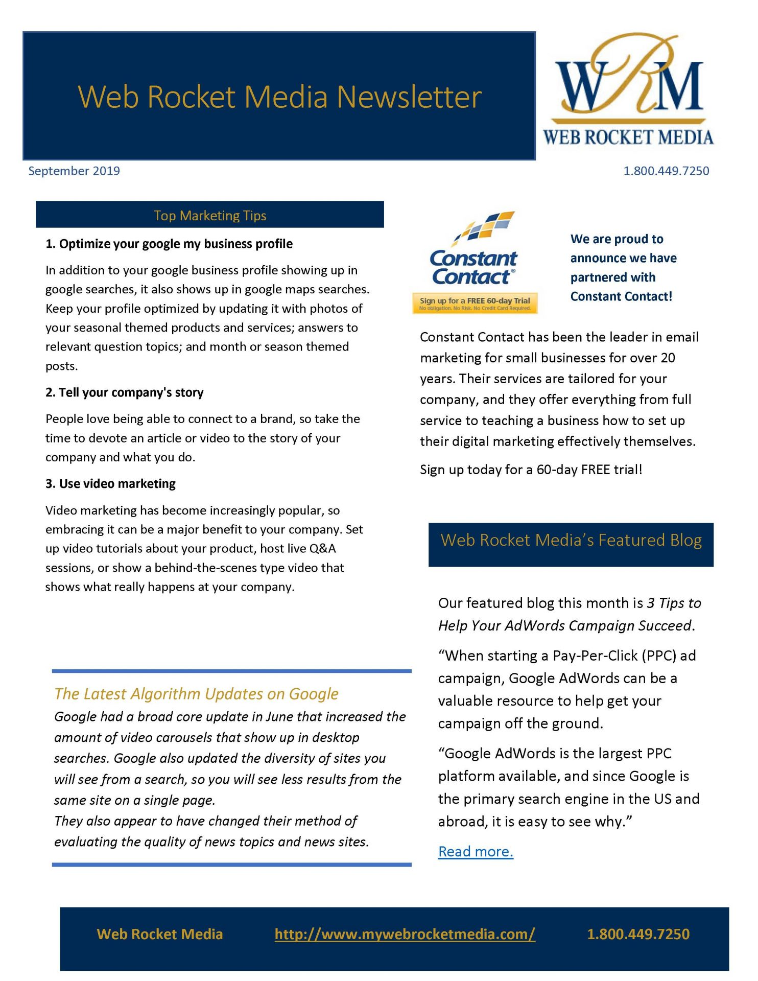 , Newsletter September 2019 | Web Rocket Media | Long Island, NY SEO