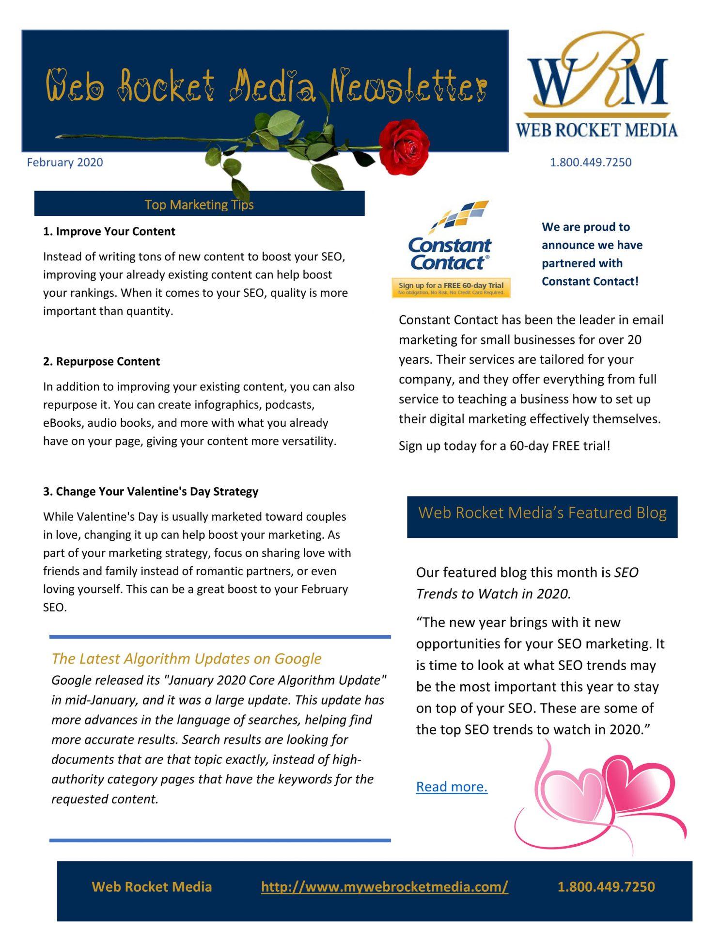, Newsletter February 2020 | Web Rocket Media | Long Island, NY SEO