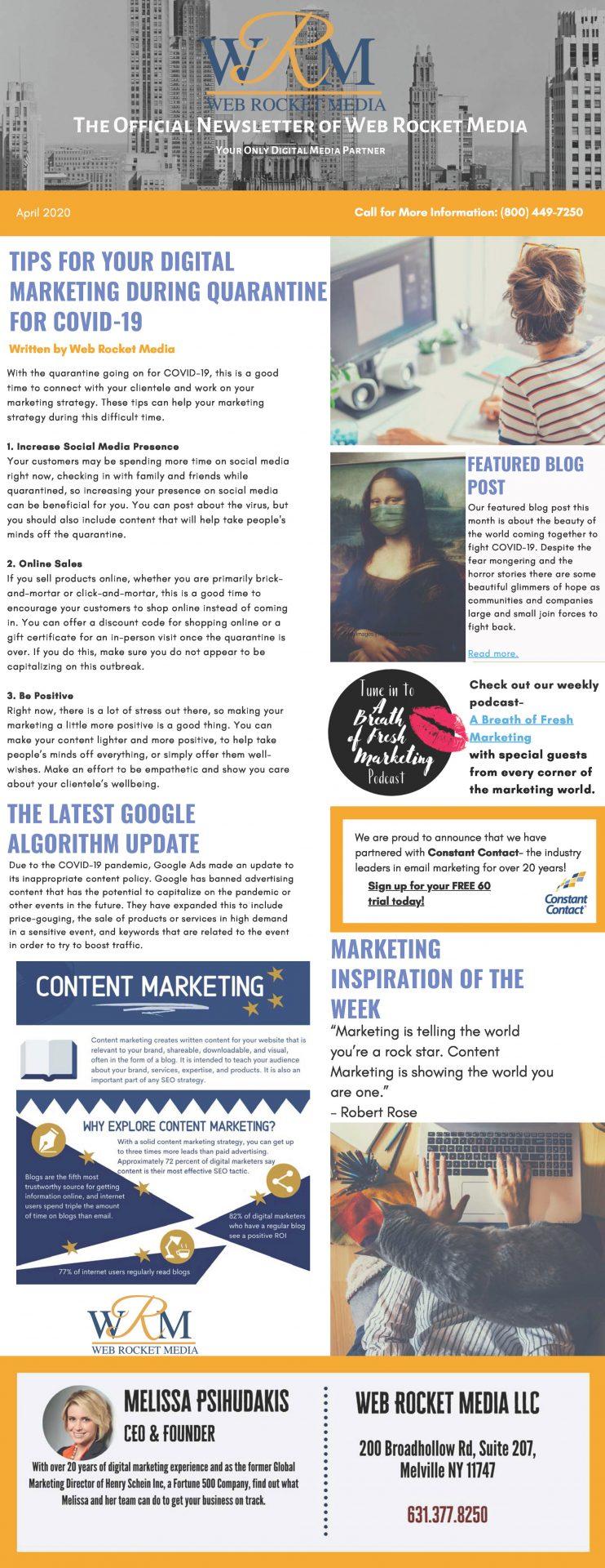 , Newsletter April 2020 | Web Rocket Media | Long Island, NY SEO