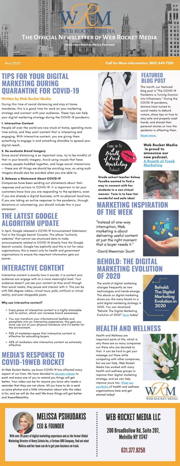 , Newsletter May 2020 | Web Rocket Media | Long Island, NY SEO