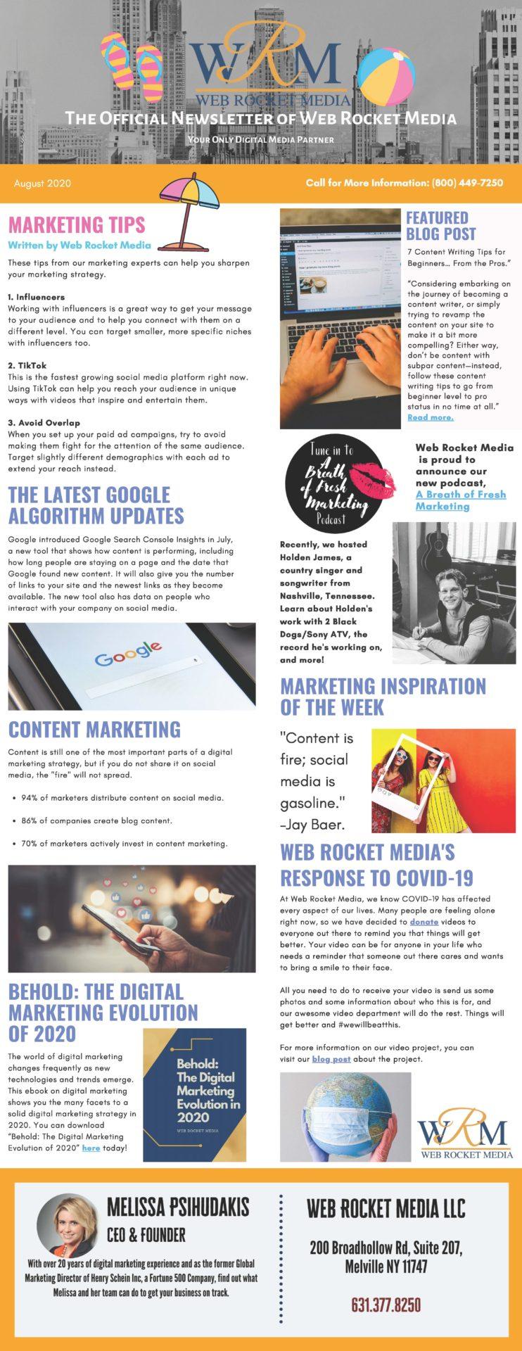 , Newsletter August 2020 | Web Rocket Media | Long Island, NY SEO