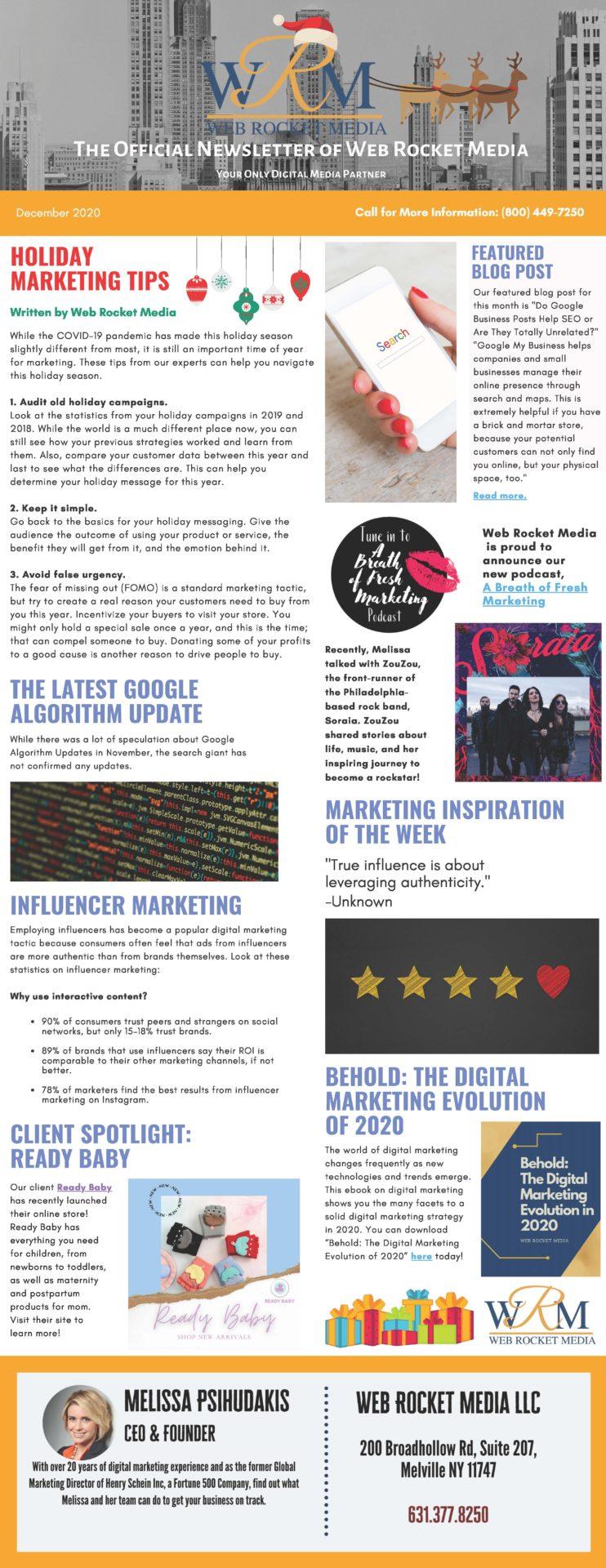 , Newsletter December 2020   Web Rocket Media   Long Island, NY SEO