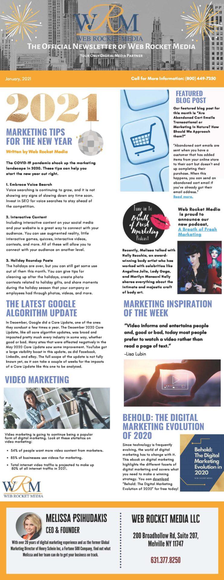 , Newsletter January 2021 | Web Rocket Media | Long Island, NY SEO