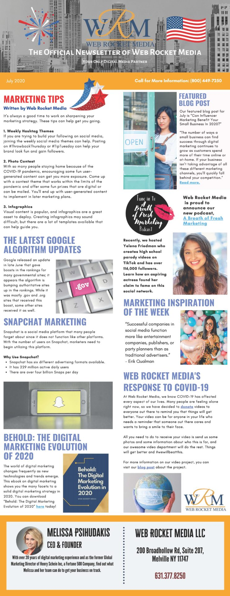 , Newsletter July 2020 | Web Rocket Media | Long Island, NY SEO