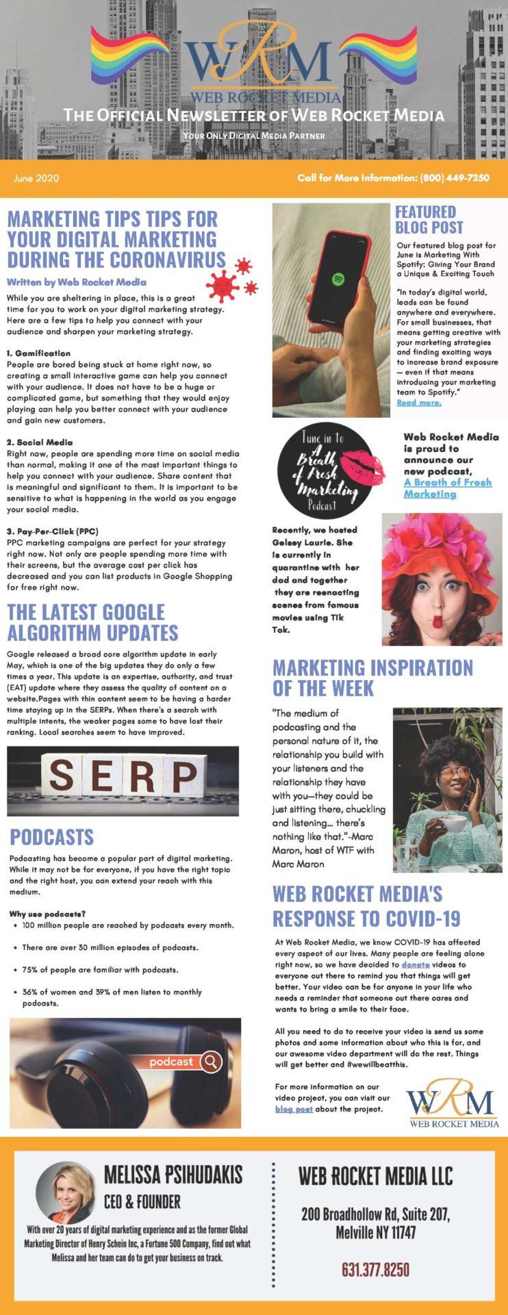 , Newsletter June 2020 | Web Rocket Media | Long Island, NY SEO