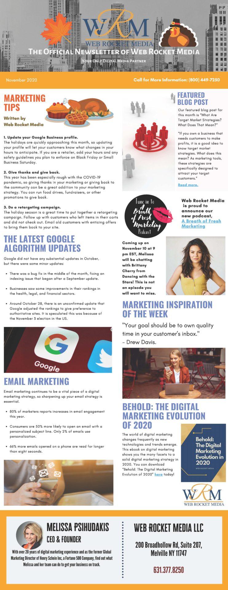 , Newsletter November 2020   Web Rocket Media   Long Island, NY SEO