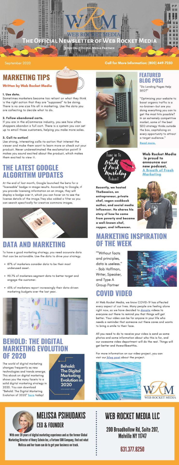 , Newsletter September 2020 | Web Rocket Media | Long Island, NY SEO