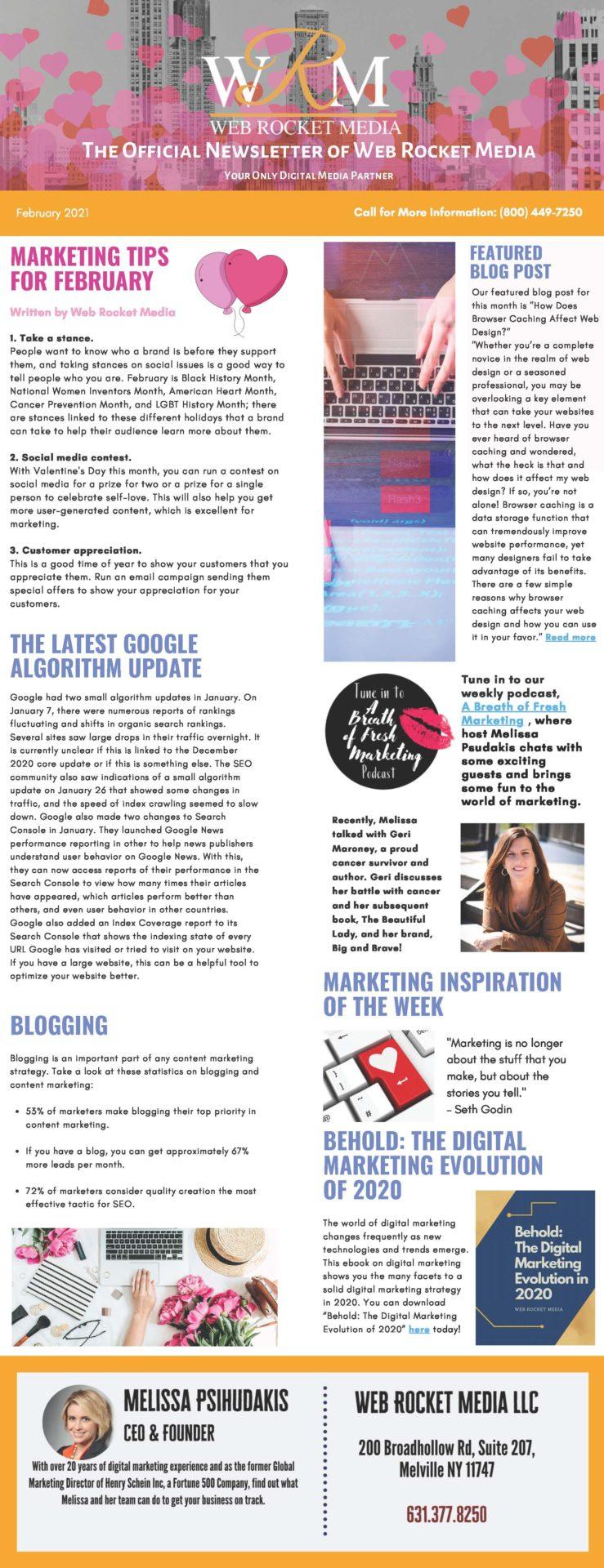 , Newsletter February 2021   Web Rocket Media   Long Island, NY SEO