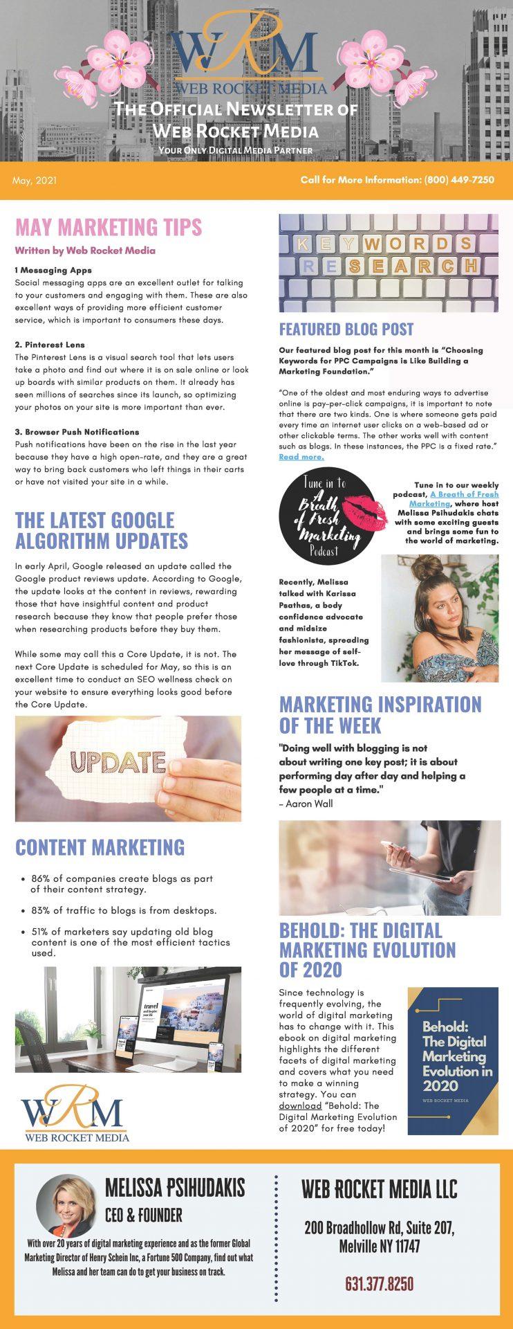 , Newsletter May 2021   Web Rocket Media   Long Island, NY SEO