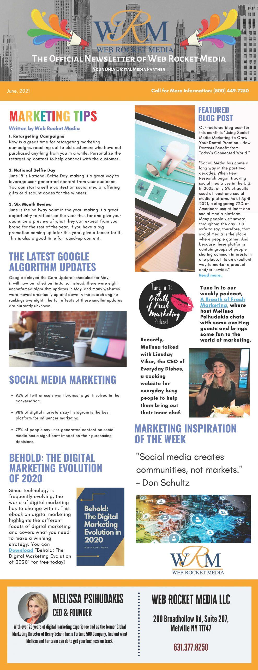 , Newsletter June 2021 | Web Rocket Media | Long Island, NY SEO